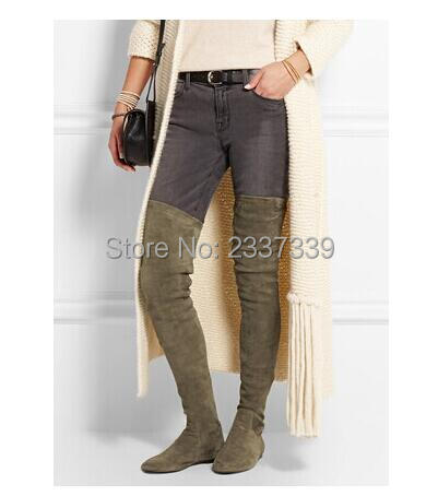 Hot Sale Winter Sexy Women Army Green Flat Over the Knee Boots Fashion  Thigh High Lady Boots Celebrity Style Plain Shoes Women 0194febd4
