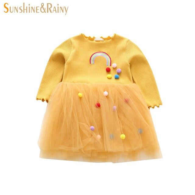 0ea9c0151 Sunshine   Rainy Ins Kids Rainbow Dresses For Girls Cute Pom Pom ...