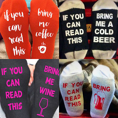 1 Pair Unisex If You can read this Bring Me a Wine/ Coffee/Beer Funny Letter Print Contract Color Socks Fall Winter