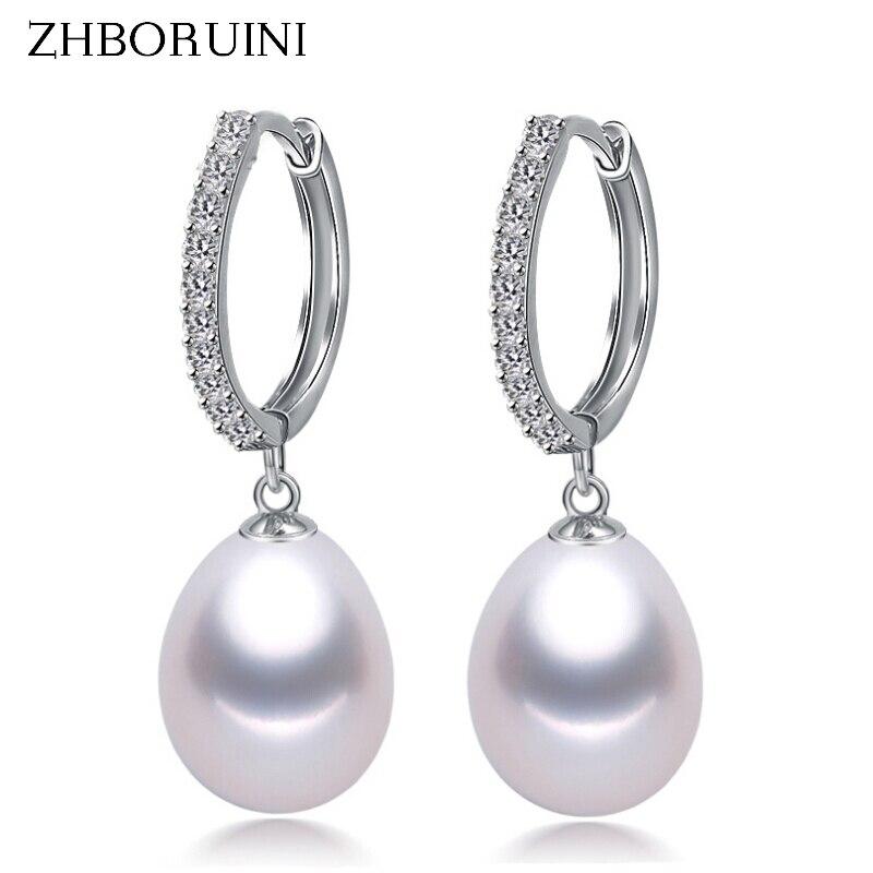ZHBORUINI 2017 Pearl Earrings Genuine Natural Freshwater Pearl 925 Sterling Silver Earrings Pearl Jewelry For Wemon