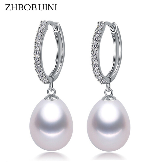 ZHBORUINI 2017 Pearl Earrings Genuine Natural Freshwater Pearl 925 Sterling Silver Earrings Pearl Jewelry For Wemon Wedding Gift