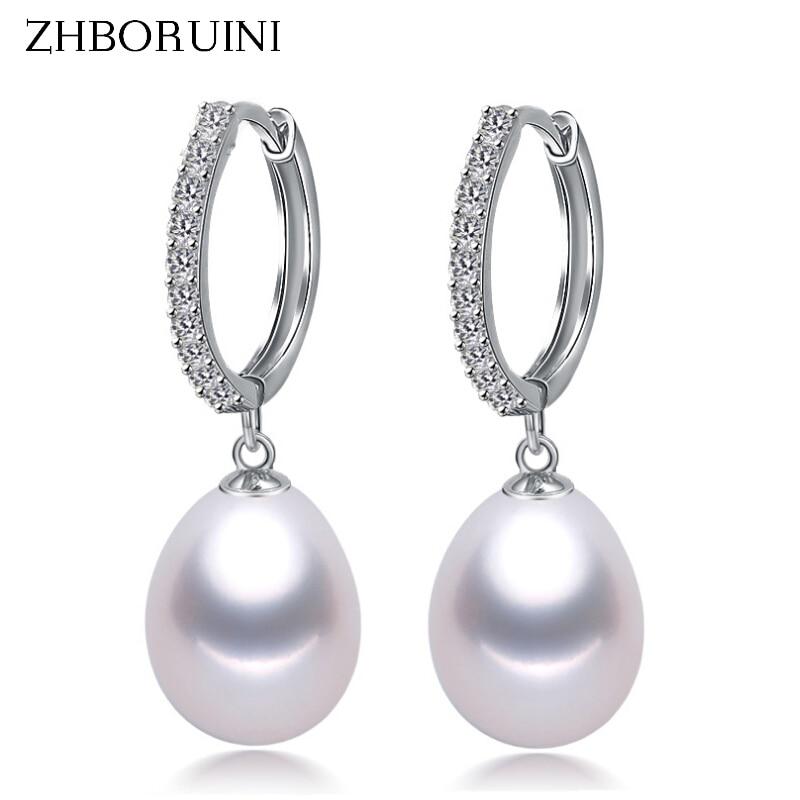 цена на ZHBORUINI 2018 Pearl Earrings Genuine Natural Freshwater Pearl 925 Sterling Silver Earrings Pearl Jewelry For Wemon Wedding Gift