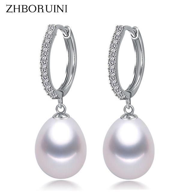 Pendientes de perlas naturales de agua dulce en plata de ley 925