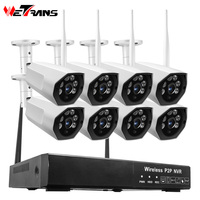 Wetrans wireless security camera system Video Surveillance wifi cctv camera system 1080p H.265 Outdoor nvr kit 8 camaras hd