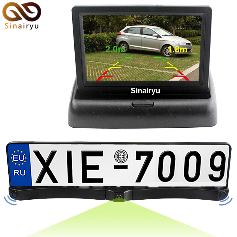 цена на License Plate Frame with 2PCS of Radar Sensors and 1PC of Rearview Camera in the Center + Folding 4.3 LCD TFT Monitor