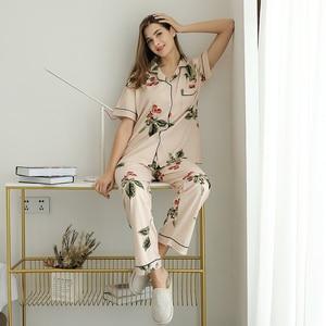 Image 3 - Cotton Sleepwear Women Fashion Pajamas Set for Female Plus Size Pajamas Flower Print Sleepwear Kit Short Sleeve Nightwear L 4XL