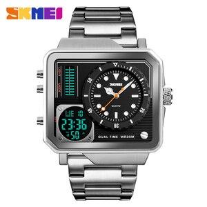 Image 4 - SKMEI relojes deportivos de cuarzo Digital para hombre, correa de acero inoxidable, resistente al agua, informal