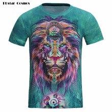 Plstar Космос 3D футболка Забавный Печать красочные волос Король Лев летом прохладно футболка уличной футболки Новые моды для мужчин/женщин