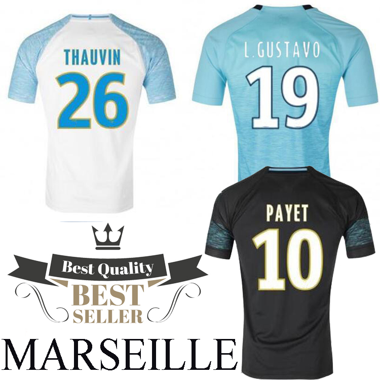 New 2018 men's for Olympique de Marseille Maillot de foot 18 19 Top Quality adult PAYET THAUVIN L.GUSTAVO running T-shirt new 2018 men s for olympique de marseille shirt 18 19 adults running shirts top quality adult payet thauvin l gustavo t shirt
