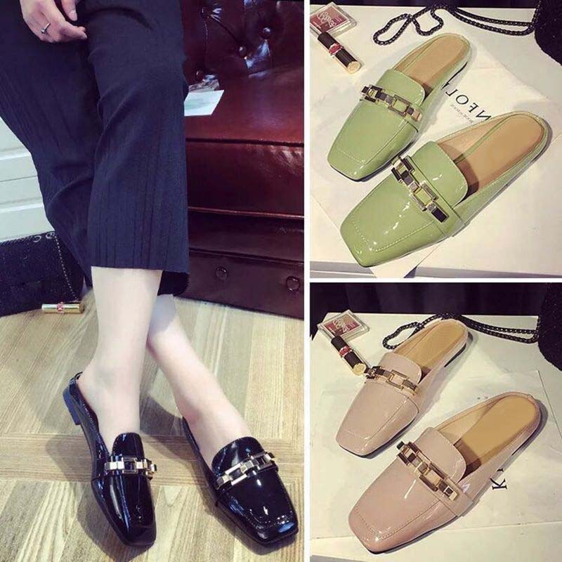 Fashion Women Pumps Casual Women Slides Square Toe Low Heels Mules Slip-on Slippers Chain Button Leisure Retro British Design gold chain party 2017 spring summer casual shallow slip on square toe bling square heels women pumps free ship mujer pantufa