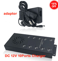 Free shipping USB charger hub made of Aluminum dc 12v input with adapter including 10 ports