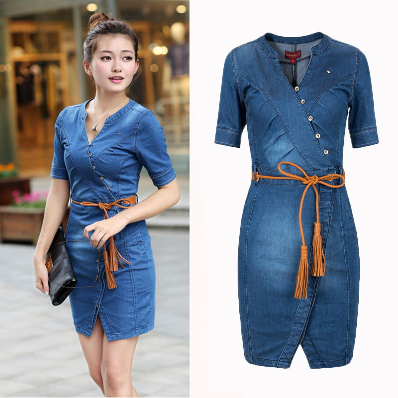 1150346e35 2015 NEW summer women fashion hot jeans dress plus size cotton v neck  casual wrap plus size denim dress free shipping L489-in Dresses from Women's  Clothing ...