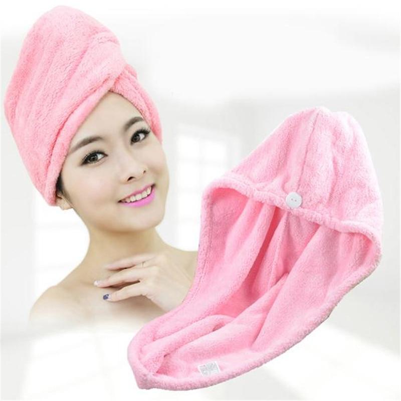 Absorbent Quick Dry Hair Towel Microfiber Fabric Hair Hat Womens Girls Ladies Cap Bathing Tool Head Wrap Hat Salon Towels