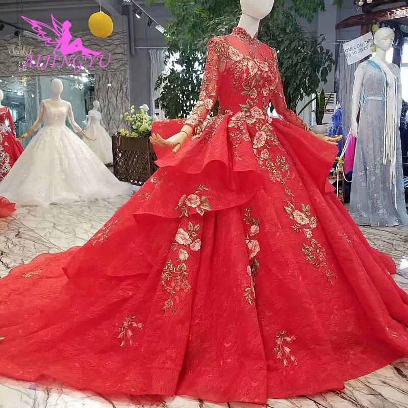 AIJINGYU corée robes de mariée robe 2019 robes de bal dentelle indiens fédération de russie en robe de mariée étincelante 2018