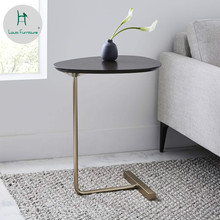 Louis Fashion Coffee Tables Creative Simplicity Modern Oval Mobile Solid Wood Iron Sofa Lazy Side