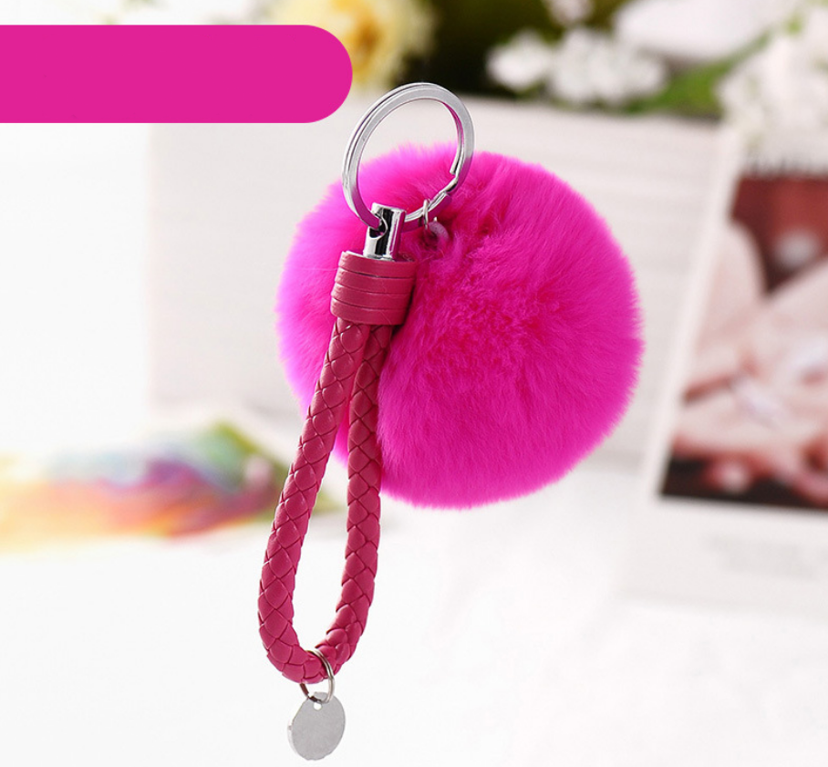 HC Fashion 8CM Genuine rabbit Fur PU Rope Key Bag Keychain Real Rex Rabbit Fur Ball Fluffy Key Ring Car Bag Pendant Trinket F