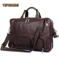 YUPINXUAN Europe Luxury Cow Leather Handbags Men Brown Genuine Leather Shoulder Bags Large Capacity 17 Laptop