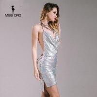 Missord 2016 Sexy Sleeveless Deep V Halter Sequin Dress FT4928