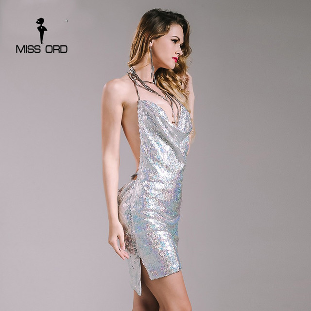 Missord 2019 Sexy sleeveless Deep-V halter split sequin dress  backless metal  Christmas  party Reflective dress FT4928
