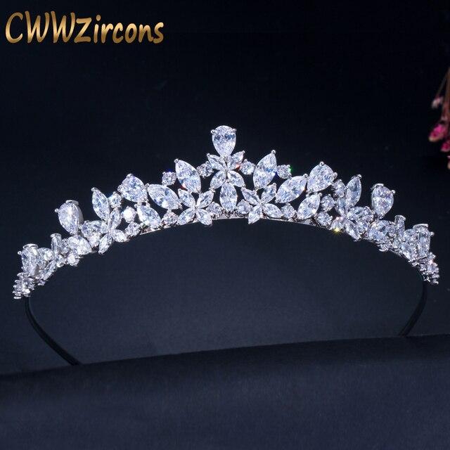 CWWZircons Hohe Qualität Zirkonia Romantische Braut Blume Tiara Krone Hochzeit Brautjungfer Haar Zubehör Schmuck A008