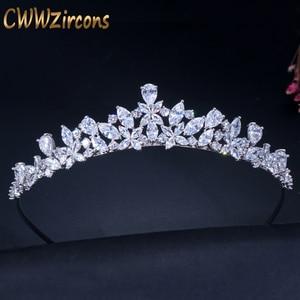 Image 1 - CWWZircons Yüksek Kalite Kübik Zirkonya Romantik Gelin Çiçek tiara taç Düğün Nedime saç aksesuarları Takı A008