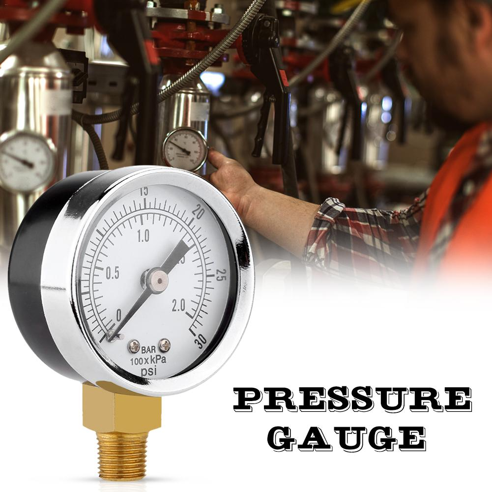 0 30psi 0 2bar 40MM Pressure Gauge Double Scale Hydraulic Compressed Air Pressure Gauge Tester Pressure Measuring Instruments in Pressure Gauges from Tools