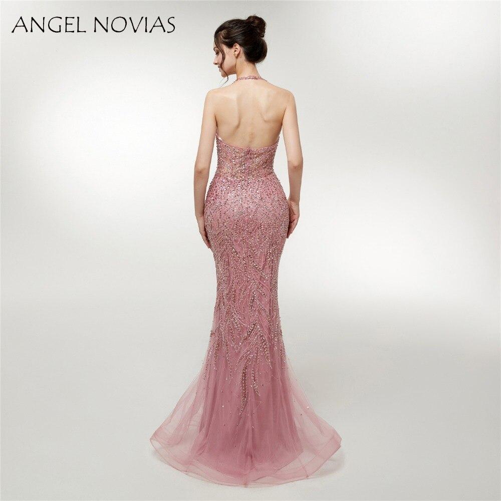ANGEL NOVIAS Abendkleider Long Formal Halter Neck Glitter Beads Evening  Dress 2018 Party Dress Vestidos Largos-in Evening Dresses from Weddings   Events  on ... 21a9fe330467