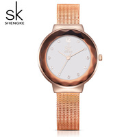 Shengke Luxury Women Watches Rose Gold Wristwatch Ladies Steel Quartz Watches Relogio Feminino 2017 Top Brand