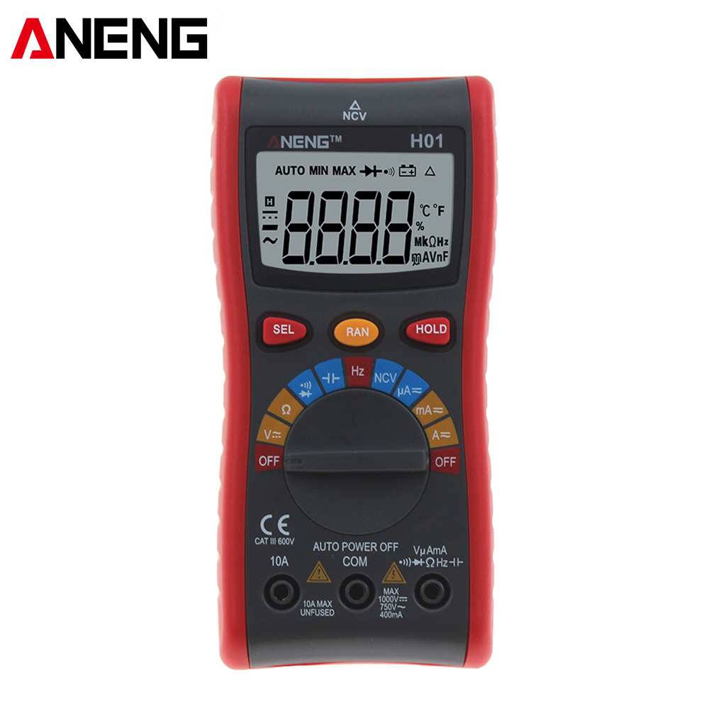 H01 de verdadero valor eficaz multímetro Digital de rango automático NCV Ohmmeter AC/DC voltaje 4000 condes Mini Digital Multimete