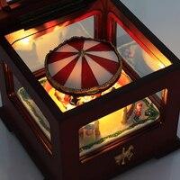 Colorido luminoso caixa de música carrossel caixa de música para crianças, Amantes, Amigos
