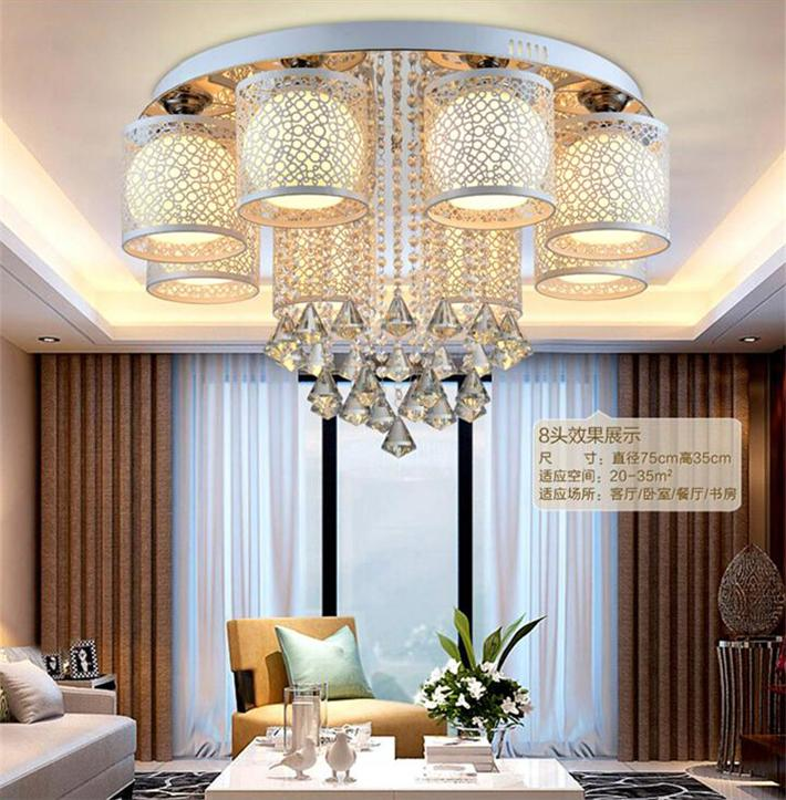 Led crystal ceiling light modern brief circle living room lamps warm bedroom lights study light 2015 brief modern fashion circle pendant lights voltage 220 240v
