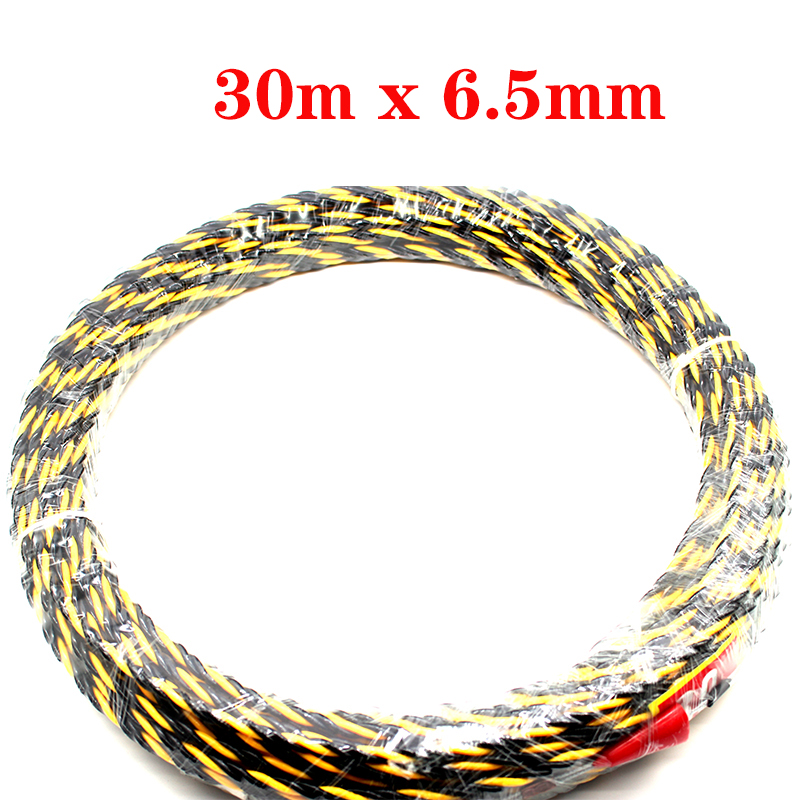 1pc 6 5mmx30m Glass Fiber Nylon Cable Electrician Conduit Ducting Cable Push Pullers Duct Snake Rodder
