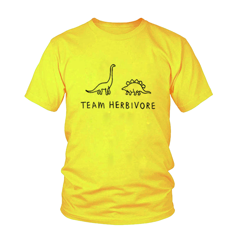 Female Short Sleeve Crewneck Tumblr T-shirt TEAM HERBIVORE TEE Dinosaur T Shirt Women Funny Fashion Clothes Tees Tshirt