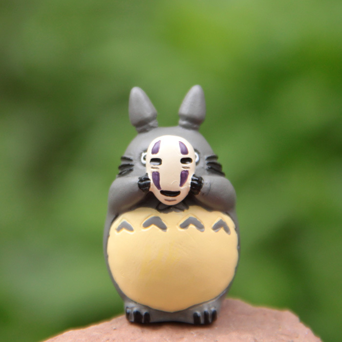 Studio Ghibli Movie My Neighbor Totoro with Mask Cosplay Spirited Away No Face Man Resin Figure Fishing Totoro Model Toy