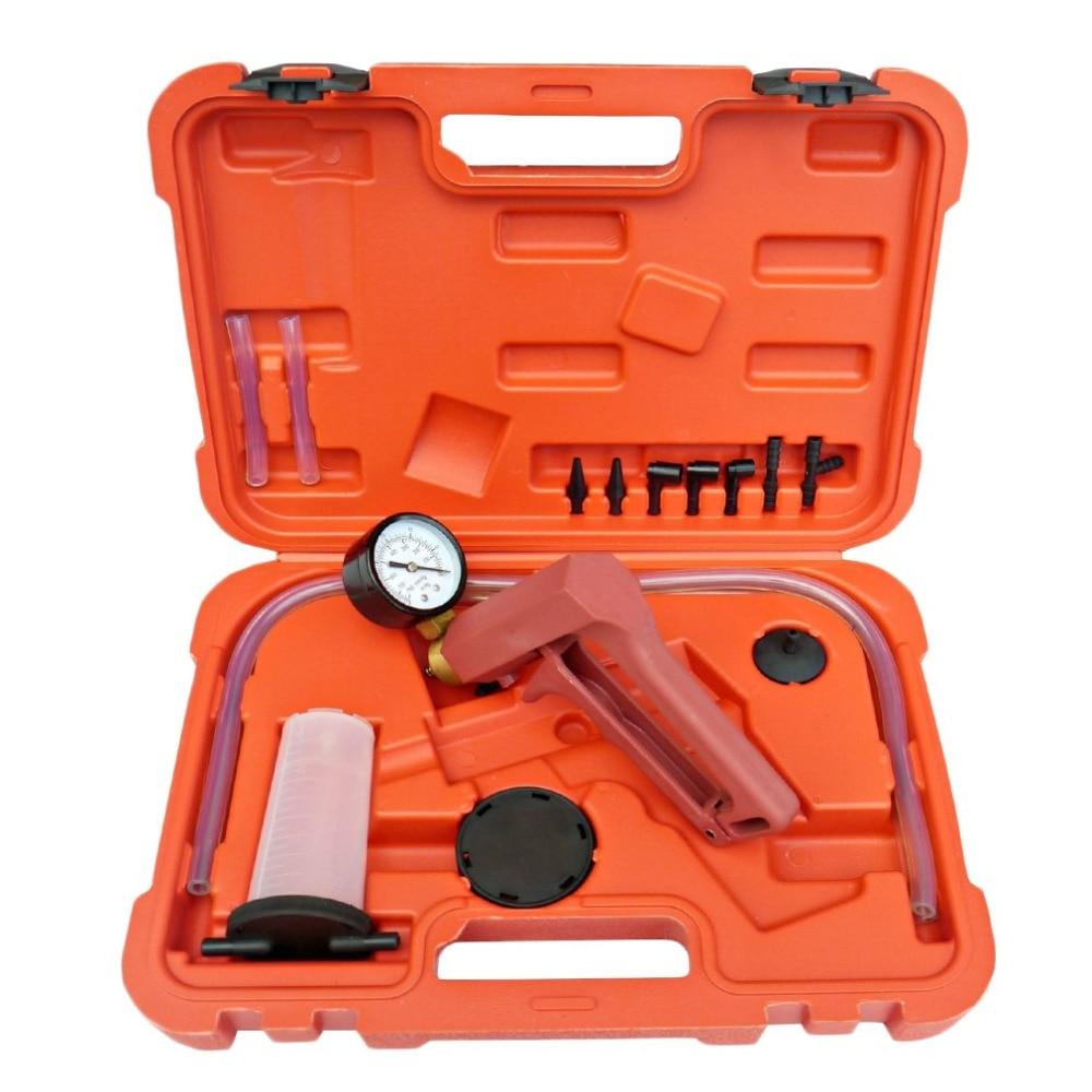 Hot Quality Car Auto Hand Held Vacuum Pistol Pump Brake Bleeder Tester Set Bleed Adaptor Fluid Reservoir Tester kit Tool Kits