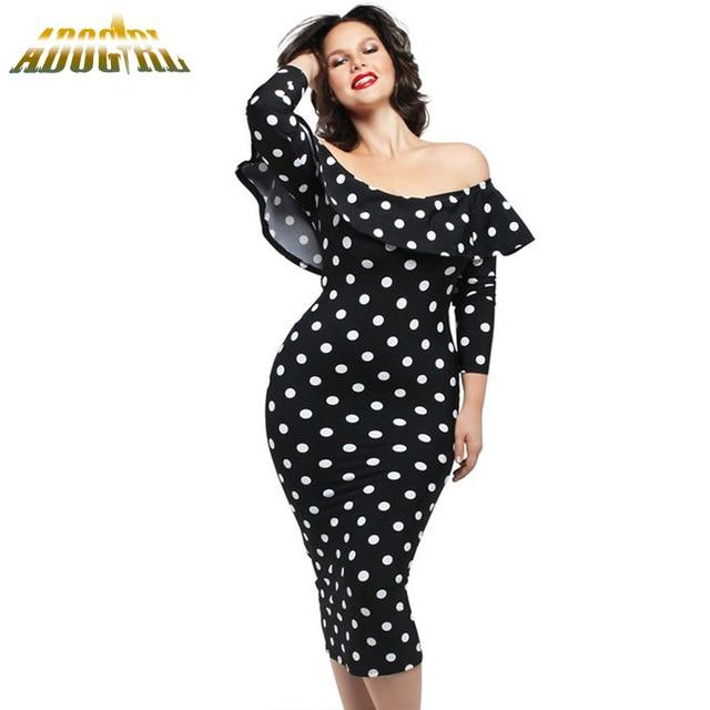 2533f18e5c39c7 Off-Shoulder Women Dress Dots Print Ruffles Neckline Long Sleeve Bodycon  Midi Dress Women Elegant Vintage Party Dresses Vestidos