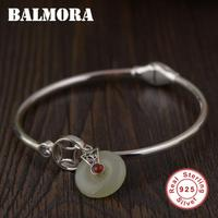 BALMORA 925 Sterling Silver Chalcedony Open Bangles for Women Mother Gift about 17cm Vintage Fashion Jewelry Accessories SY50351