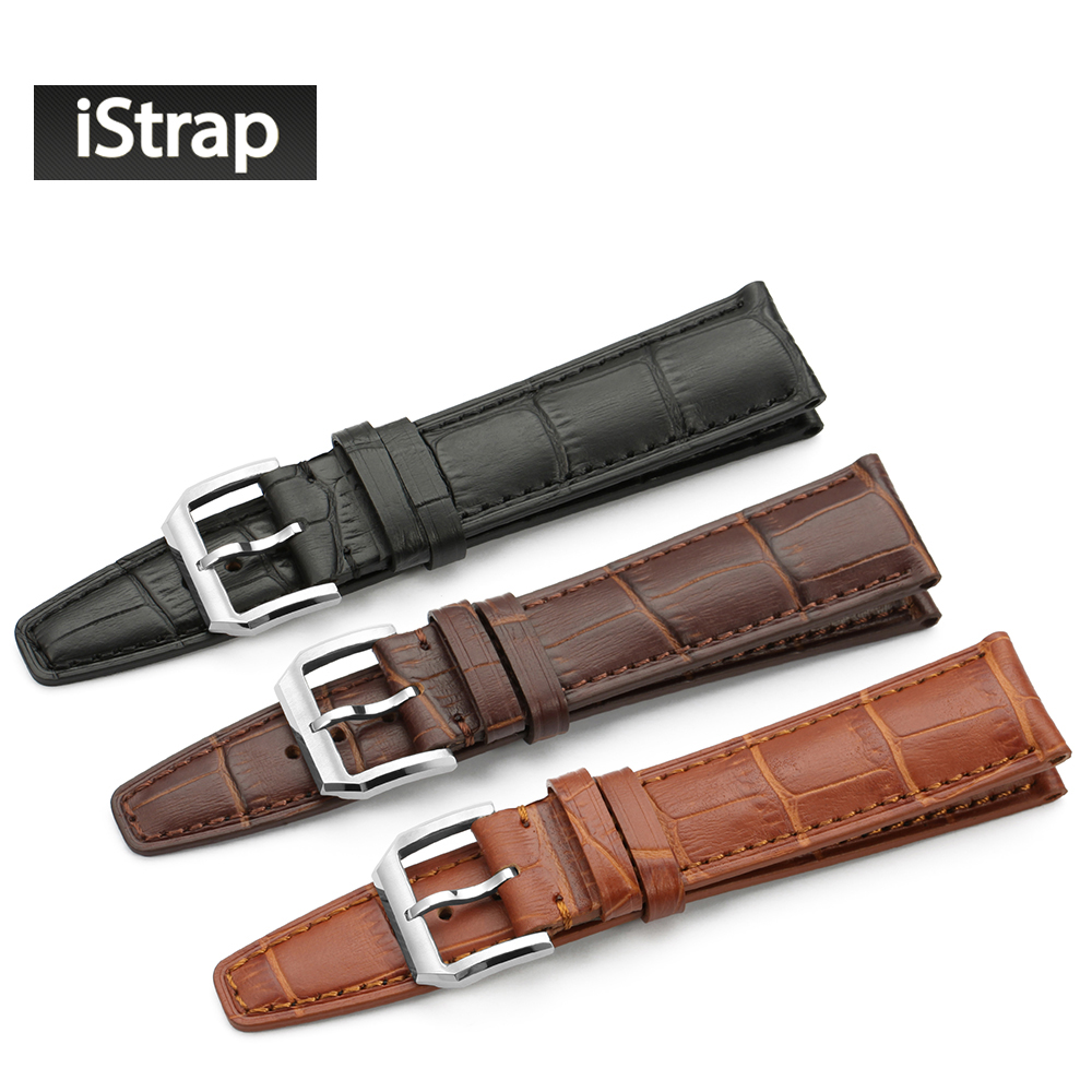 iStrap High quality Alligator Grain Genuine Leather Watch Band Strap Bracelet Butterfly Deployment Clasp 20mm 21mm 22mm for IWC все цены