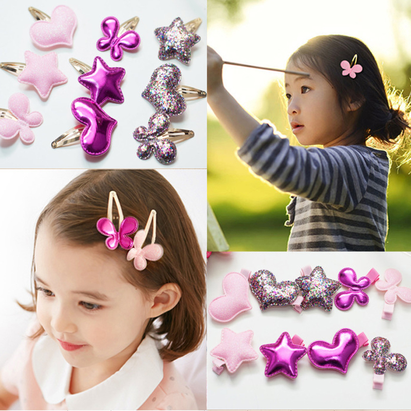 Sale 1 Pc Kids Girls Baby PU Barrettes Butterfly Hearts Stars BB Hair Clip Hair Jewelry 3 Colors