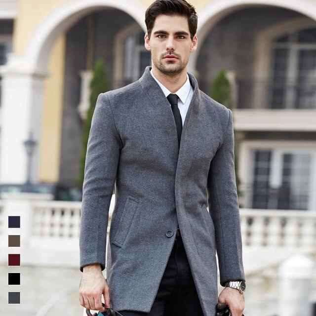 Новинка 2017 года модная зимняя одежда шерстяное пальто верхняя одежда мужчины шерстяные пальто тонкий утолщение теплый Тренч пальто с толстой хлопковой подкладкой