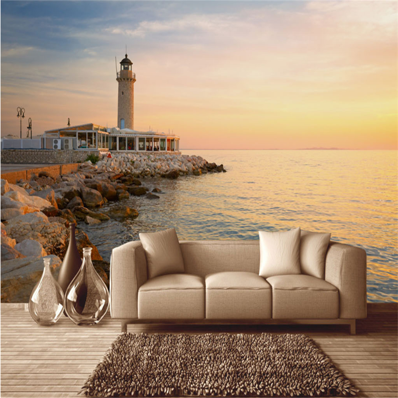 Custom Photo Wallpaper 3D Stereo Embossed Wallpaper Sunset Under The Lighthouse Of The Aegean Sea For Living Room TV Background custom photo 3d wallpaper sunset sea