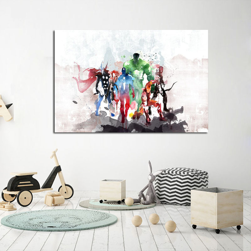 Painting & Calligraphy Home & Garden Canvas Picture Art Decoration Cartoon Girl Room Wall Printing Cat Is On The Swing Paintings Modern Nordic Style Posters Creative