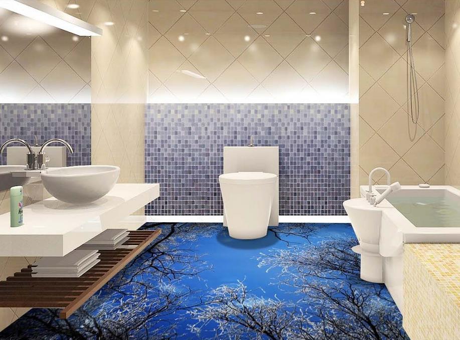ФОТО custom 3d floor mural wallpaper self-adhesive wallpaper 3d flooring waterproof wallpaper Woods sky 3d floor