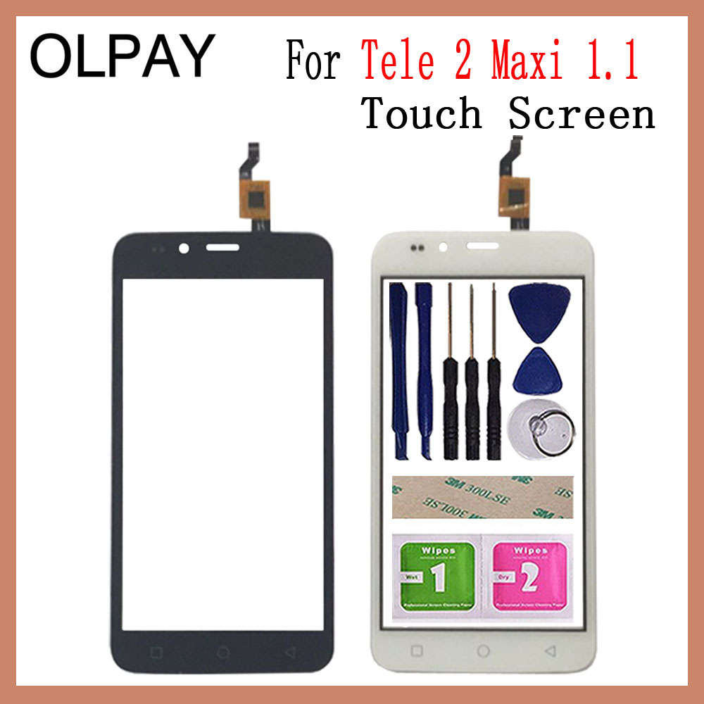 OLPAY 5.0'' Mobile Phone For Tele 2 Tele2 Maxi 1.1 Touch Screen Glass Digitizer Panel Lens Sensor Tools Free Adhesive+Wipes