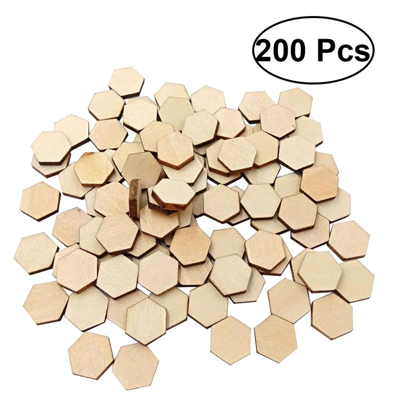200PC 12.5MM Beech Wooden Hexagonal Pieces Ornaments Wooden Shapes Ornaments Embellishment DIY Crafts Decorations