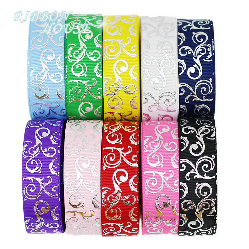 (10 yards/lot) 25mm White Hot stamping silver foil grosgrain ribbon gift wedding ribbons wholesale