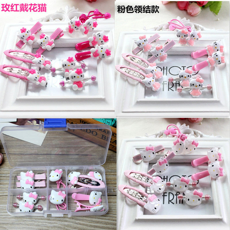 Fashion Children   Headwear   10PCS/SET Hello Kitty Hair Clips Gum Elastic Band Hair Accessories Barrettes Scrunchies For Cute Baby