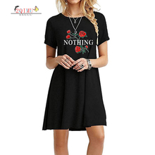 2QIMU 2019 Summer Patchwork Printing Short Sleeve Female Dress Slim O-Neck Quality Knee-Length Casual Women