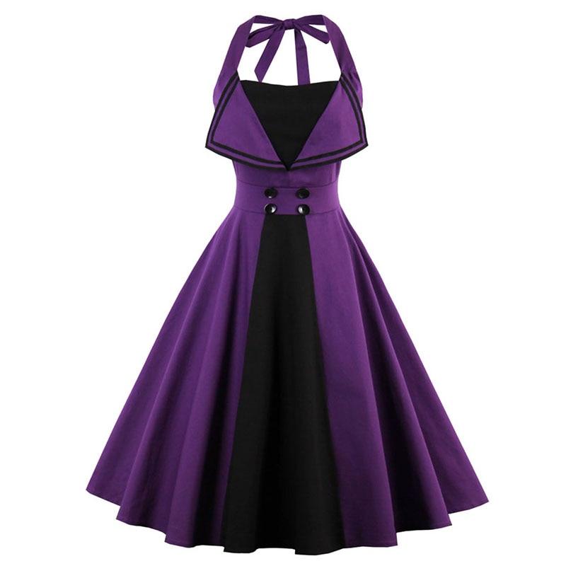 Sisjuly Women Purple Summer Halte Dress Female Sleeveless A-Line Backless Dress Knee-Length Strapless Girls Summer Belt Dresses