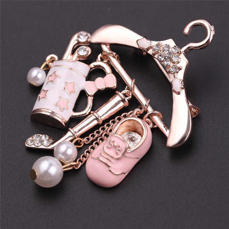Cute Pink Gantungan Bros untuk Wanita Enamel Bros Pin Fashion Perhiasan Perhiasan Lencana Liontin Bros Accesorios Mujer